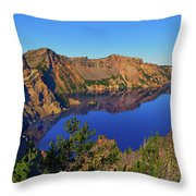 Crater Lake Morning Reflections Throw Pillow