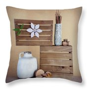 Crates With Flower Still Life Throw Pillow