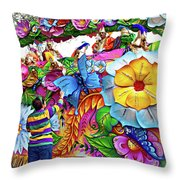 Craving Mardi Gras Beads - Tiptoe Pleading Technique - Vignette Throw Pillow