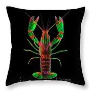 Crawfish In The Dark - Greenred Throw Pillow