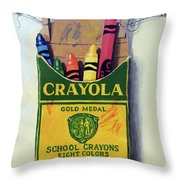 Box Of Crayons Painting Throw Pillow