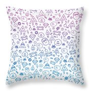 Crazy And Cute Monster Patter In Blue Pink Throw Pillow