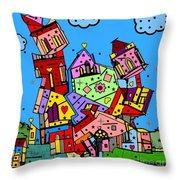 Crazy Building Popart By Nico Bielow Throw Pillow