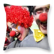 Crazy Circus Clowns Throw Pillow