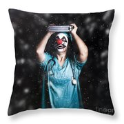 Crazy Doctor Clown Laughing In Rain Throw Pillow