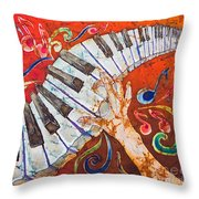Crazy Fingers - Piano Keyboard  Throw Pillow