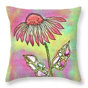 Crazy Flower With Funky Leaves Throw Pillow