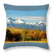 Crazy Mountain Homestead Throw Pillow