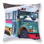 Crazy Painted Old School Bus In The Snow Throw Pillow