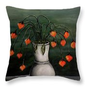 Crazy Red Flowers Throw Pillow