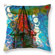 Crazy Red House In The Clouds Whimsy Throw Pillow