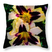 Cream And Purple Lilies Throw Pillow