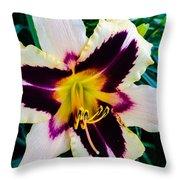 Cream And Purple Lily Macro Throw Pillow