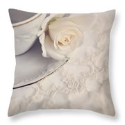 Cream Rose On White China Cup Throw Pillow