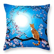 Creamsicle Kitten In Blue Moonlight Throw Pillow
