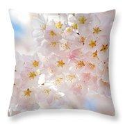 Creamy Blossoms Throw Pillow