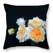 Creamy English Roses Throw Pillow