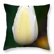 Creamy Lemony Tulip Throw Pillow