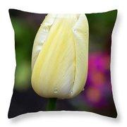 Creamy Pale Lemon Tulip Throw Pillow