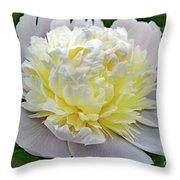 Creamy Petals - Double Peony Throw Pillow