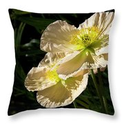 Creamy Poppies Throw Pillow