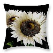 Creamy Sunflowers Throw Pillow