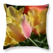 Creamy Yellow Tulip Throw Pillow