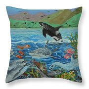 Creation Fifth Day Sea Creatures And Birds Throw Pillow