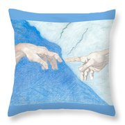 The Creation Hands Sistine Chapel Michelangelo Throw Pillow