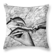 Creators Hand At Work Throw Pillow by Peter Piatt