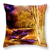 Creek At Wolf Throw Pillow
