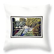 Creek In The Forest Framed Throw Pillow
