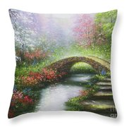 Creek In The Woods Throw Pillow