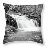 Creek Merge Waterfall In Black And White Throw Pillow