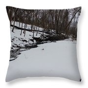 Creeks Battles The Snow And Cold To Remain Flowing. Throw Pillow