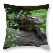 Creeping Komodo Monitor Climbing Under A Fallen Log Throw Pillow