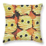Creepy And Kooky Mummified Cookies  Throw Pillow