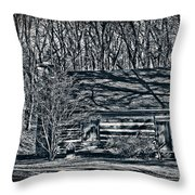 Creepy Cabin In The Woods Throw Pillow