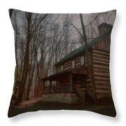 Creepy Cabin Throw Pillow