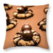 Creepy Crawly Spider Bites. Halloween Food Throw Pillow