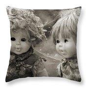 Creepy Dolls Throw Pillow by Ankeeta Bansal