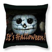 Creepy Halloween Pumpkin Throw Pillow