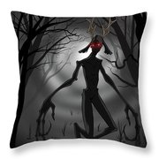 Creepy Nightmare Waiting In The Dark Forest Throw Pillow