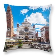 Cremona Market Square With Cathedral Throw Pillow