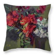 Crepe Myrtles In Glass Throw Pillow