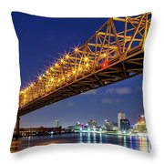Crescent City Bridge, New Orleans, Version 2 Throw Pillow