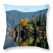 Crescent Lake Fall Colors Throw Pillow