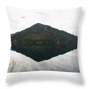 Crescent Lake Reflection Throw Pillow