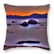 Crescent Moon Above Tahoe Throw Pillow
