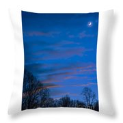Crescent Moon At Sundown Throw Pillow